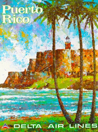 Puerto Rico Delta United States Caribbean Vintage Travel Advertisement Poster