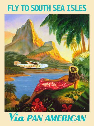 South Seas Islands French Polynesia Tahiti Vintage Travel Advertisement Poster