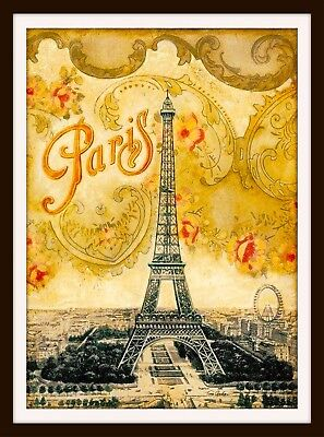 Paris Eiffel Tower French Europe European Vintage Travel Advertisement Poster