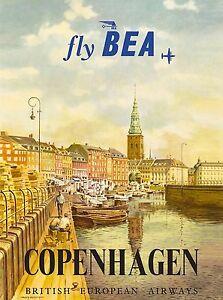 Copenhagen Denmark Scandanavia Fly BEA Vintage Travel Advertisement Poster