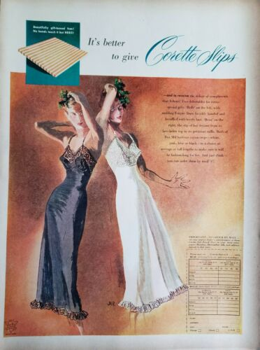 Lot of 2 Vintage 1948 Corette Slips Print Ads Ephemera Art Decor by JKR