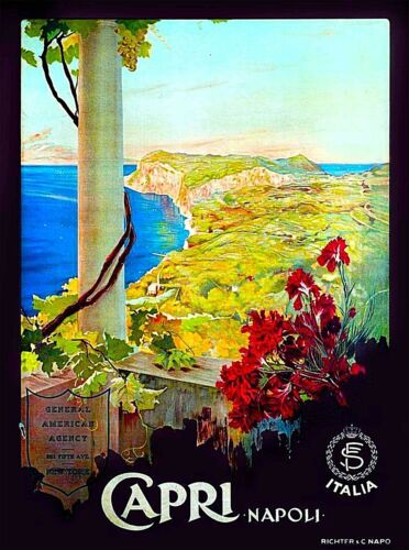 Capri Italy Vintage Italian Europe Art Travel Advertisement Poster Picture Print