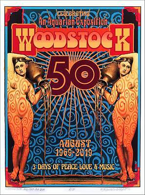 """Woodstock 50th Anniv Poster """"Nymphs"""" Hand-Signed Ltd Ed of 100 by David Byrd COA"""