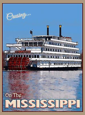 Cruising Mississippi River Queen United States Travel Advertisement Art Poster