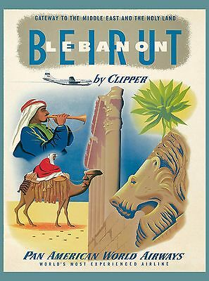 Beirut Lebanon by Clipper Airplane Vintage Travel Art Advertisement Poster