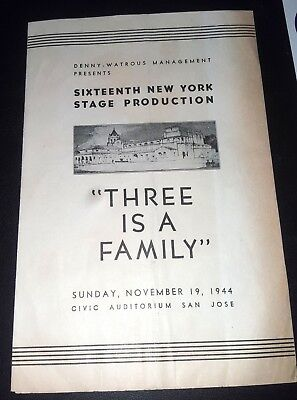 THREE IS A FAMILY 1944 Theater Program