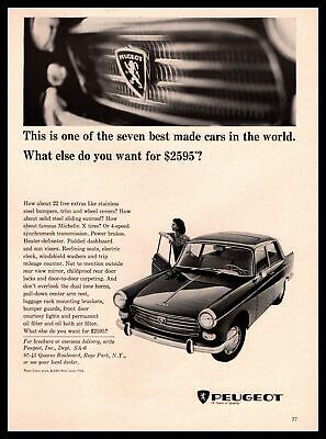 1965 Peugeot SA 404 Sedan By Pininfarina Rego Park NY Michelin X Tires Print Ad