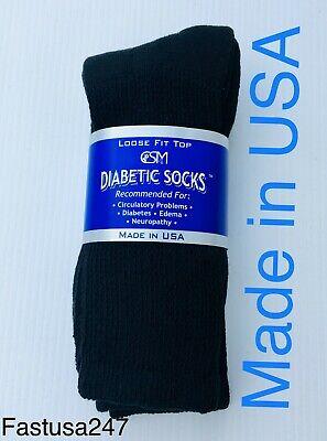 BEST QUALITY 3 PAIR BLACK MEN'S DIABETIC CREW SOCKS SIZE 13-15 (MADE IN USA) (Best Mens Crew Socks)
