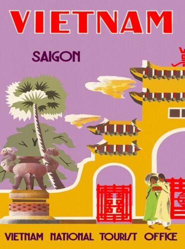 Vietnam Saigon Asia Asian Vintage Travel Advertisement Art Poster