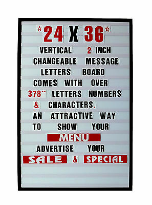 """Changeable Letters Message Sign Menu Price Marquee Reader Board 24"""" X 36"""""""