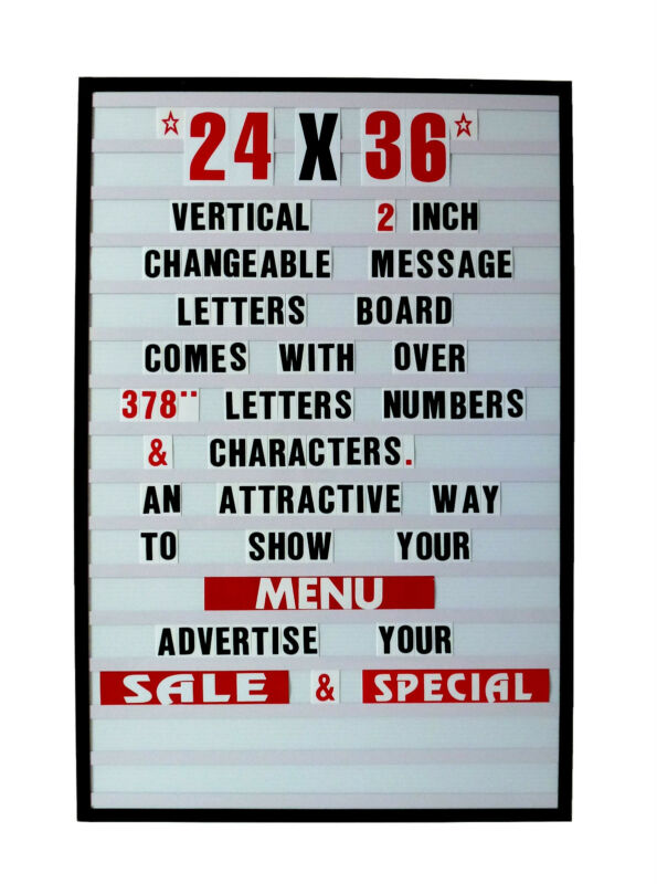 "Changeable Letters Message Sign Menu Price Marquee Reader Board 24"" X 36"""