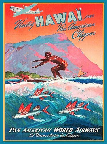 Honolulu Hawaii Surf Oahu Vintage United States Travel Advertisement Art Poster