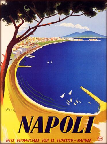 Napoli Naples Italy Vintage Mount Vesuvius Travel Art Advertisement Poster Print