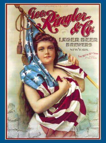 1898 Geo Ringler Beer Breweriana New York America Travel Advertisement Poster