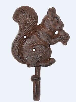 Squirrel Eating Oak Tree Acorn Single Hook 7 Inch Patio Porch Wall Decor