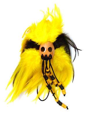 Hawaiian Feathered Ikaika War Helmet - Yellow & Black