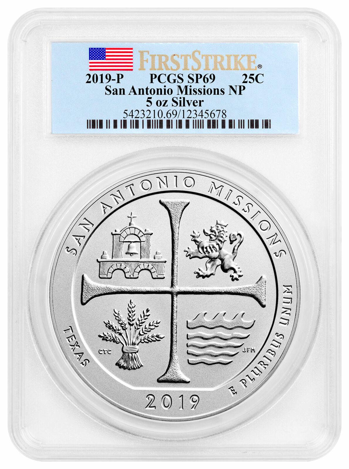 2019P San Antonio Missions 5oz Silver ATB Specimen PCGS SP70 FS SKU59039