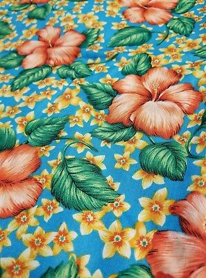 Hibiscus Tropical Quilting Fabric South Beach By Free Spirit Orange Floral