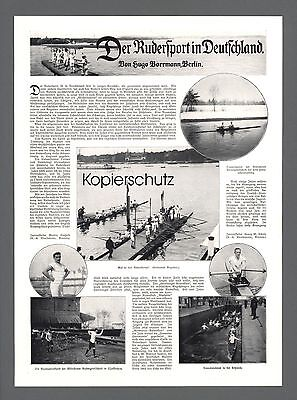 Rudersport in Deutschland Rudervereine Bootshäuser Paddelboot 1910