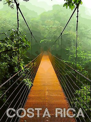 Costa Rica Rainforest Bridge Central America Travel Poster Advertisement