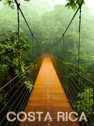 Costa Rica Rainforest Bridge Central America Travel Poster Advertisement