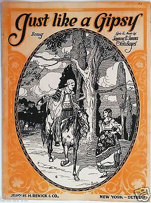 "1919 ""JUST LIKE A GIPSY"" ART COVER SHEET MUSIC"