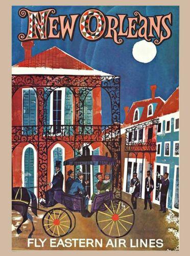 New Orleans Louisiana Vintage Travel Ad Art Poster Print. French Quarter