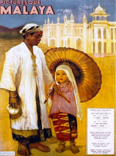 Picturesque Malaya Malaysia Vintage Asia Travel Advertisement Poster Art