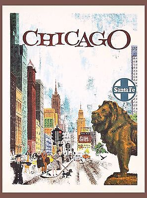 Chicago Illinois Santa Fe United States America Travel Advertisement Poster