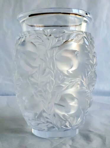 "VNTG Lalique France Crystal Bagatelle Vase 7"" Frosted Birds 1971 Signed (W56)"