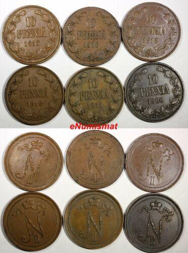 FINLAND Nicholas II Copper LOT OF 6 COINS 1900-1916 10 Pennia KM#14 (17 213)
