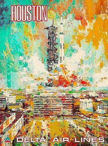Houston Texas Space Center NASA Travel Ad Art Print Poster