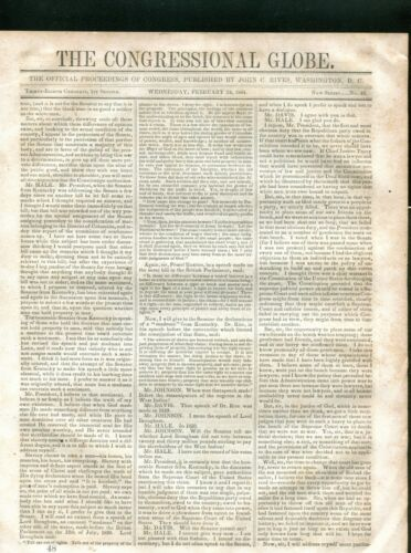 1864 CIVIL WAR THE CONGRESSIONAL GLOBE PROCEEDINGS OF CONGRESS 15 PAGES NEWS
