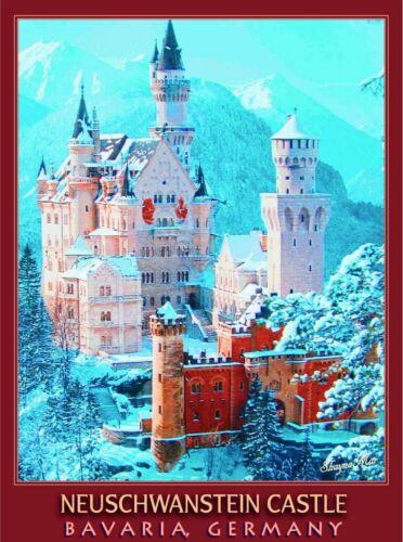 Neuschwanstein Castle Bavaria German Vintage Travel Ad Art Poster Print