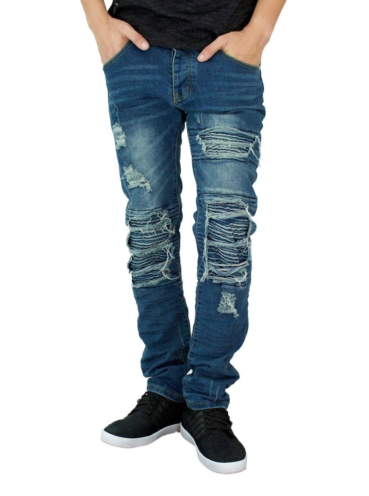 Men's biker Skinny jeans, premium Ripped Distressed stretch