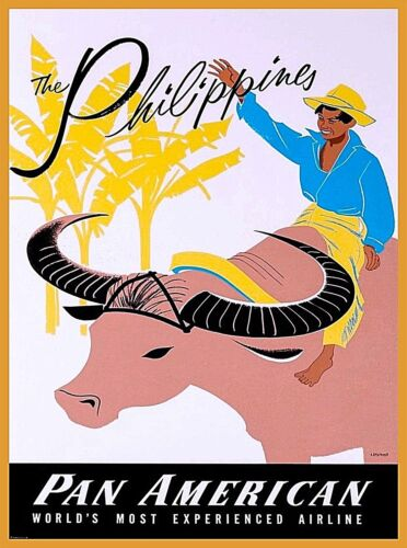 The Philippines Pan American Vintage Travel Advertisement Art Poster Print