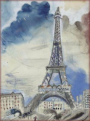 1910 Paris France French Eiffel Tower Vintage Travel Advertisement Poster Print