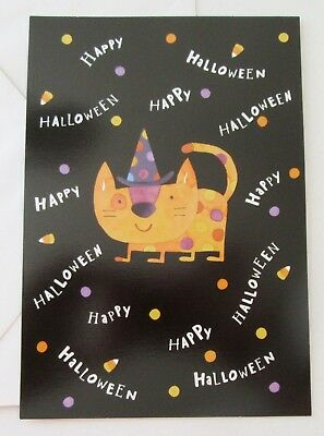 Unused Halloween Card Cat in Polka Dot Witch Hat Hallmark (Cat In Halloween)