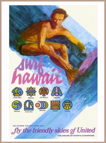 Surf Hawaii Hawaiian United States America Vintage Travel Advertisement Poster