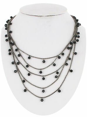 Necklace Beaded Gunmetal Multi Strand Black Faceted Small Beads Layered Choker](Small Beads Necklace)