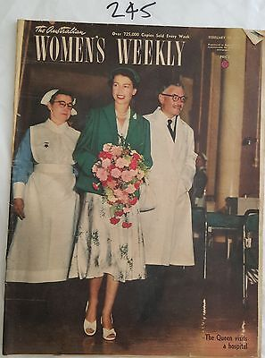 AUSTRALIAN WOMENS WEEKLY 1954 FEB 10,ROYAL TOUR AUSTRALIA,FASHION ADS,ARNOTTS