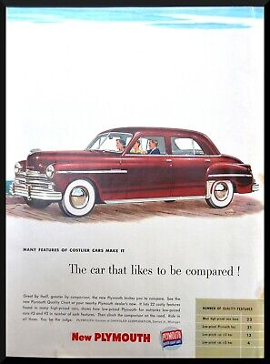 1949 Plymouth Special Deluxe Sedan color illustration art vintage print Ad
