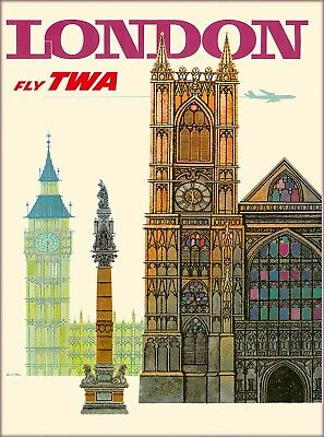 London Big Ben TWA England Great Britain Vintage Travel Advertisement Poster