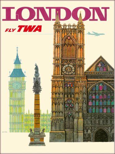 London Big Ben TWA England Great Britain Vintage Travel Advertisement Poster