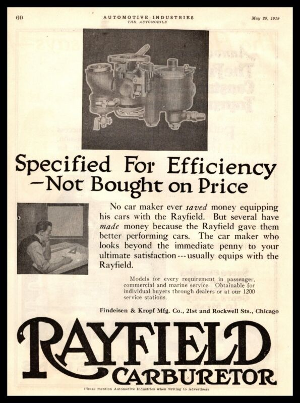 1919 Rayfield Carburetor Findeisen & Kropf Mfg. Co. Chicago IL Vintage Print Ad