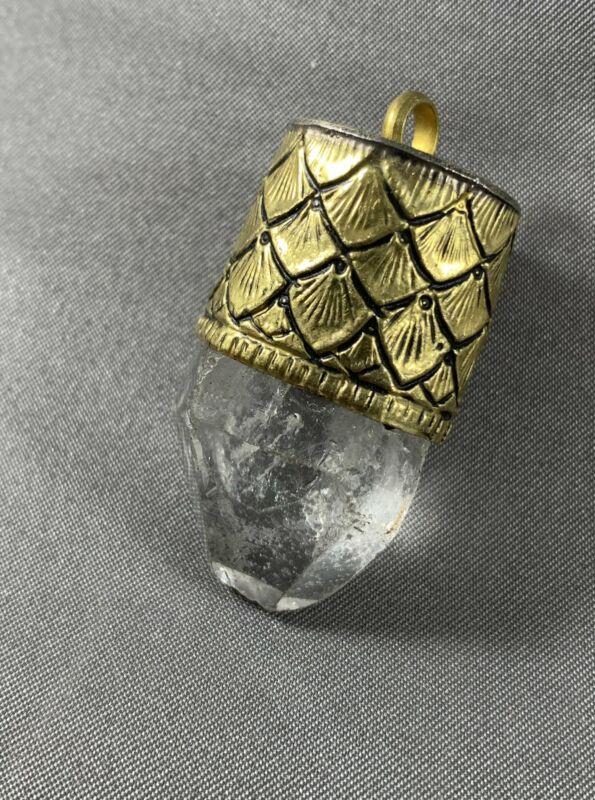 Tibetan Pendant Himalayan Crystal Repousse Brass Jewelry