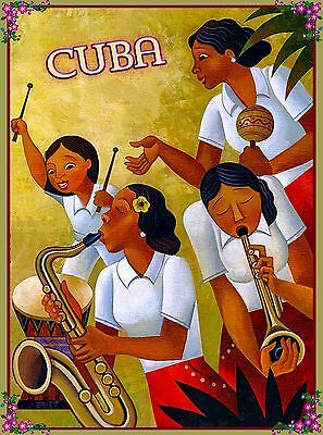 Cuban Drum - Cuba Cuban Havana Habana Caribbean Bongo Drums Travel  Advertisement Poster