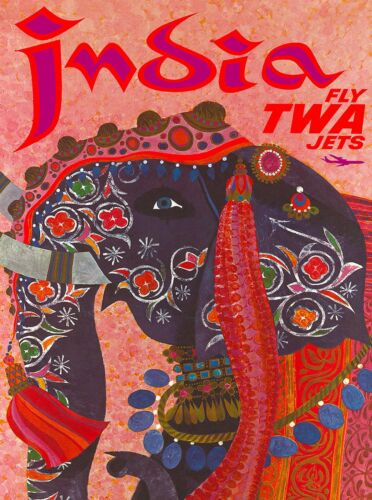 India Elephant by Airplane Vintage Travel Advertisement Art Poster