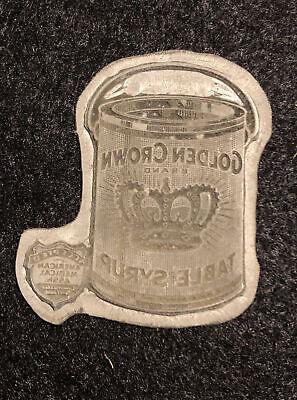 Antique Metal Golden Crown Syrup Can Letterpress Print Type Cut Ornament Block