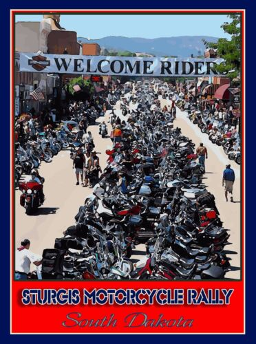 Sturgis Motorcycle Rally South Dakota United States Travel Advertisement Poster